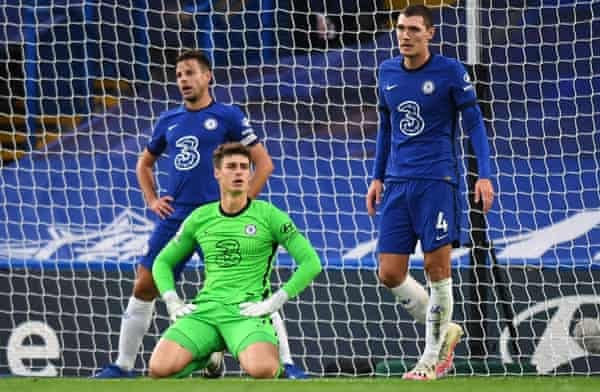 A dejected Kepa Arrizabalaga after Southampton scored an equaliser to get the game back to 2-2 in October 2020.