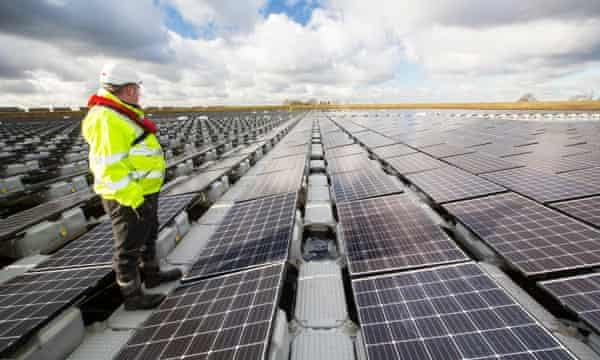 A floating solar farm on Godley Reservoir in Hyde, Manchester.