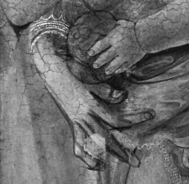Detail of the hands in the painting