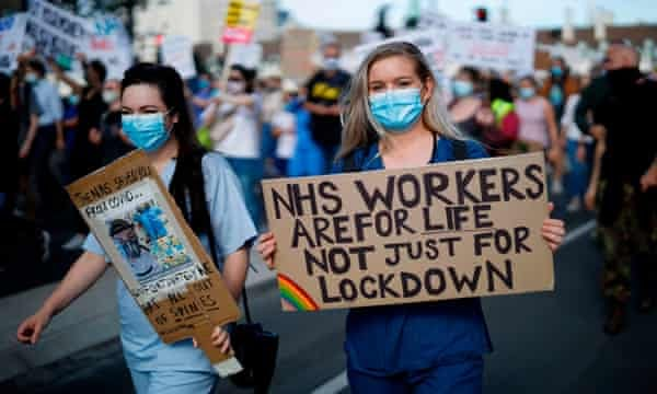 NHS workers protest for a pay rise in July in London