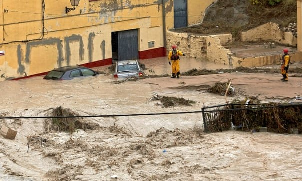 View of River Clariano overflowing in Ontinyent, Valencia.