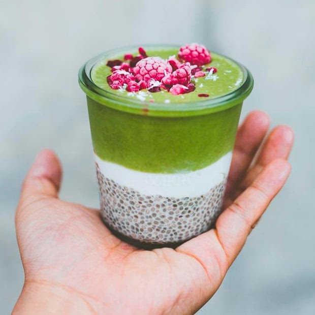 Parfait of chia pud, coconut yoghurt and green smoothie